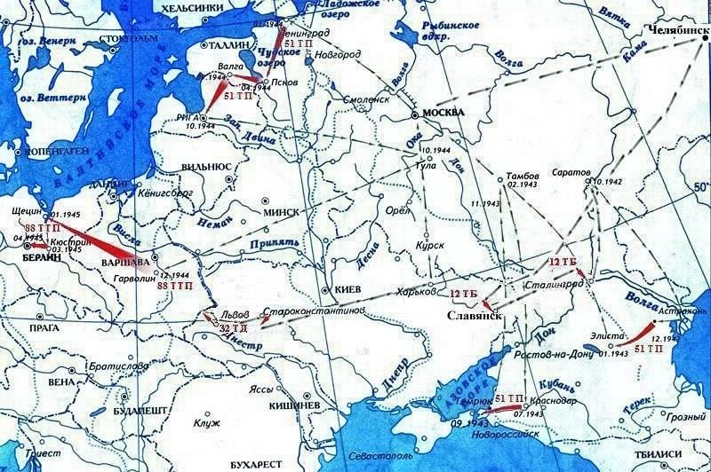 Карта боевого пути Жаркого Ф.М.